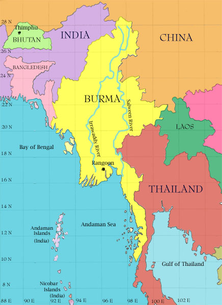 map of Burma showing its location in Southeast Asia between China, India, and Thailand